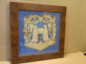 Pamela Dalton Scherenschnitte Silhouette 2 Girls Under Bower Wood Frame Signed