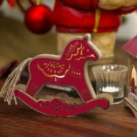 CHRISTMAS ROCKING HORSE LIGHT UP LED RED RED ORNAMENT table decoration tree gift