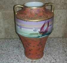 RARE Nippon Moriage Vase Double Handle SAILBOAT SCENIC  Hand Painted Handle's