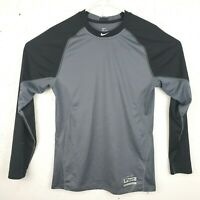 Nike Pro Combat Boys M Dri Fit Shirt Black Gray MLB Authentic Collection Read