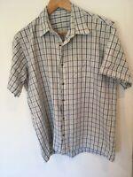 Mens Medium Shirt Short Sleeves Pale Blue Check <SW4187