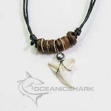 Real shark teeth tooth necklace wood brown black beads men boy surf c50