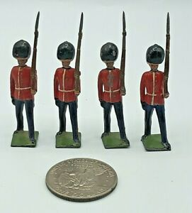 (4) Pc Vintage Britains Ltd British Guard Riflemen Metal Lead 54mm Toy Soldiers