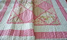 Tagesdecke 260x300 Patchwork Quilt rosa weiß Landhaus Romantik Plaid Rosen Karo