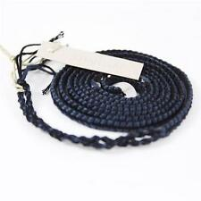 "Authentic New Chan Luu  32"" Gun-Metal Bead Cotton Bracelet BS-3021 In Dark Blue"
