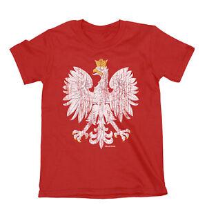 Kids Poland 2021 Design T-Shirt Football ORGANIC POLISH Arms EAGLE Euro Shipping