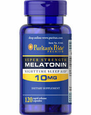 Puritan's Pride Melatonin 10 mg Night Time Sleep Aid 120 Capsules - Made in USA