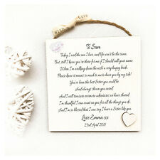 Personalised Wedding Thank You Plaque for Sister, Team Bride Gift Idea W222