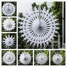 Pack of 12 Paper Snowflake Frozen White Chic Christmas Hanging Fan Decorations