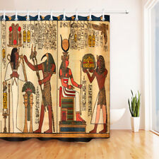 Ancient Egypt Pharaoh Mural Waterproof Bathroom Fabric Shower Curtain Set Hooks