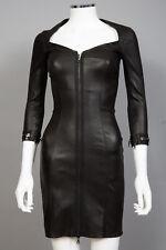 NWT Aphero Black Stretch Lambskin Leather Dress sz 36 US 4 $4950