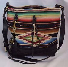 RALPH LAUREN Navajo Blanket Black Leather Hobo Tote Shoulder Bag Purse Womens