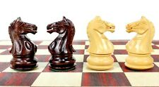 "Fierce Knight Weighted Chess Set Pieces 3"" Rosewood + 2 Extra Queens"