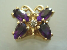 *Beautiful Estate*Diamond*Amethyst*Butterfly*14kt Gold Bracelet Slide Charm*L@@K