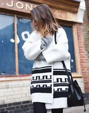ZARA NWT M Black & White Ethnic Jacquard Short Knitted Coat jacket wool winter