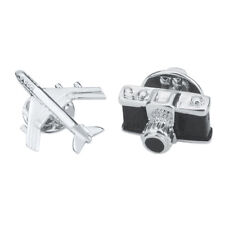 2Pcs Men's Camera Airplane Brooch Lapel Suit Pin Wedding Party Accessories