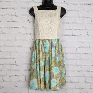 Maurices Women's Fit & Flare Cream Lace Bodice Floral Chiffon Dress Juniors 1/2