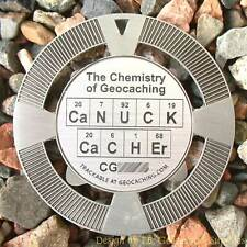 """CaNUCK CaCHEr Chemistry Geomedal Geocoin (2.5"""" Antique Silver Color)"""