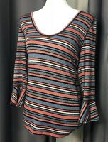 Women's Free People 3/4 Bell Sleeve Top Size Large Multi-Color Metallic Striped