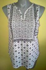 Ladies Womens Sleeveless Tank Top Shirt Blouse Stretch Black & White Now Size 18