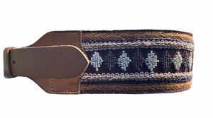 """Belt Boho Buffalo Leather Beads Made India XS Brown Embroidery 30"""" 2.75"""" Wide"""