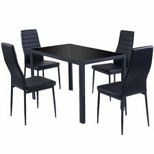 5 Piece Kitchen Dining Set Glass Metal Table and 4 Chairs Breakfast Furniture