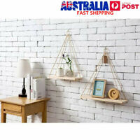 Nordic Style Wood Rope Wall Hanging Shelf Storage Display Rack Tassels Decor AU