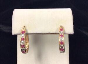 Rose Gold Over Sterling Silver 925 Diamond & Ruby Oblong Hoop Earrings EE965