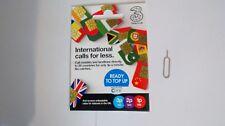 THREE (3) PAYG International Combi Sim Card. From 3p/min + SIM EJECTOR PIN TOOL