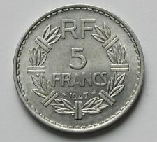 1947 FRANCE Aluminum Coin - 5 Francs - AU+ toned-lustre - open 9 variety