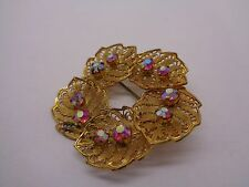 VINTAGE GOLD TONE FRET WORK LEAF BROOCH PINK AB RHINESTONE  PARTY PROM FESTIVAL