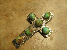MAGNIFICENT HUGE OLD Navajo Sterling Silver ROYSTON Turquoise CROSS Pendant