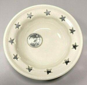 Handmade Art Pottery Studio Ceramic Votive Candle Holder Star Cut-Outs Trinket