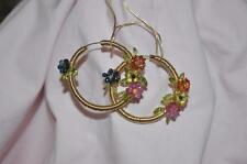 BRIOLETTE MULTI-COLOR SAPPHIRE & PERIDOT NATURAL GEMSTONES 14K GOLD EARRINGS