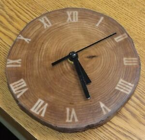 Carved 3D Wood Slab epoxy Craft Art Engraved wall clock hanging 7''x6''x1''