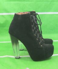 """new Size 10 Black 5.5""""clear High Block Heel Round Toe Lace Up Sexy Ankle Boots"""