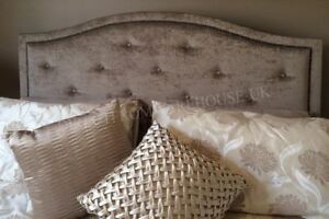 """New Design Dews Buttoned Studded Bed Headboard in Soft Plush Fabric 30"""" Height"""