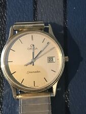 14K Solid Omega Seamaster Swiss Made 6 Jewel Quartz Men's Watch Engraved Back