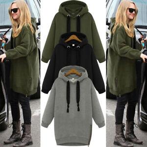 UK Women Oversized Warm Hooded Hoodies Zip Side Loose Pullover Sweatshirt Dress