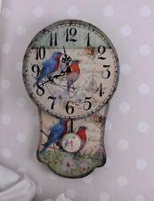 Vintage Wall Clock Postcards Motive Pendulum Shabby Chic Watch Decoration