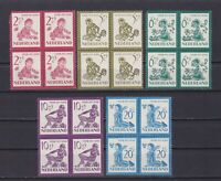 NETHERLANDS 1950, Sc# B219-B223, CV $90, set of blocks of 4, MNH