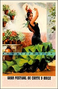 Spain 1973 Great Festival Of Singing Dancing Vintage Poster Print Retro Style