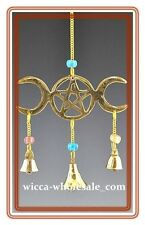 "9"" Brass Triple Moon Wind Chime Wicca  FREE SHIP Windchime Feng Shui Bell"