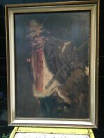 Antique Oil Board Painting Farmer Man Smoking Cane Londoner 19Th Signed Peasant
