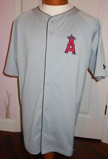 La Angels baseball Under Armour Authentic Gray Button front Jersey Size Lg