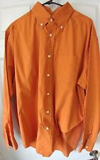 Men's A Di Mille  Button Front Long Sleeve Shirt 100% Cotton orange Size XL