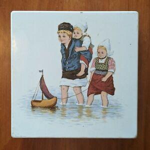 Vintage Ceramic Trivet Dutch Boy & Girls Wooden Shoe Sailboat Made in Germany