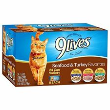9 Lives Favorites Wet Cat Food Turkey and Seafood Variety (24 Pack) 5.5 oz