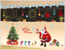 2 Sheets Large Christmas Tree and Santa Removable Window/Wall Stickers Home Shop