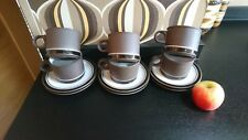 Retro Hornsea Pottery Contrast 6 Cups and Saucers
